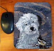 MOUSE PAD ·WINTER BUDDIES · OLD ENGLISH SHEEPDOG & CHICKADEE · AMY BOLIN