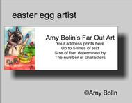 ADDRESS LABELS · EASTER EGG ARTIST · NORWEGIAN ELKHOUND · AMY BOLIN