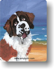 MAGNET · A DAY AT THE BEACH · SAINT BERNARD · AMY BOLIN
