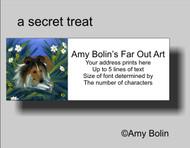 ADDRESS LABELS · A SECRET TREAT · SABLE SHELTIE · AMY BOLIN