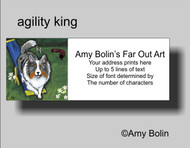 ADDRESS LABELS · AGILITY KING · BLUE MERLE SHELTIE · AMY BOLIN