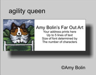 ADDRESS LABELS · AGILITY QUEEN · SABLE SHELTIE · AMY BOLIN