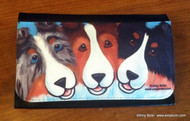 LARGE ORGANIZER WALLET · BFF'S · BLUE MERLE, SABLE, TRI COLOR SHELTIES · AMY BOLIN
