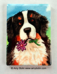 MAGNET · I SAW THIS FLOWER · BERNESE MOUNTAIN DOG · AMY BOLIN