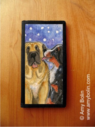 CHECKBOOK COVER · LITTLE KISS · BERNESE MOUNTAIN DOG, MASTIFF · AMY BOLIN