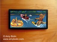 CHECKBOOK COVER · GOLDENS ON THE LAKE · GOLDEN RETRIEVER · AMY BOLIN