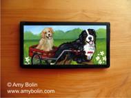 CHECKBOOK COVER · TRAVELING BUDDIES · BERNESE MOUNTAIN DOG & GOLDEN RETRIEVER · AMY BOLIN