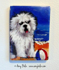 MAGNET · BEACH BUM · OLD ENGLISH SHEEPDOG  · AMY BOLIN