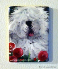 MAGNET · MOM'S FAVORITE FLOWER · OLD ENGLISH SHEEPDOG  · AMY BOLIN