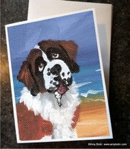 NOTE CARDS · A DAY AT THE BEACH · SAINT BERNARD · AMY BOLIN