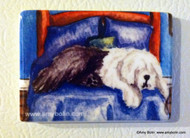 MAGNET · THE KING ON HIS THRONE   · OLD ENGLISH SHEEPDOG  · AMY BOLIN