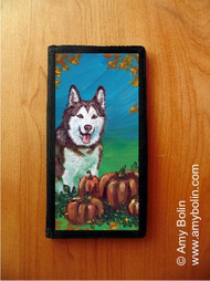 CHECKBOOK COVER · AUTUMN'S SIMPLE PLEASURES · HUSKIES & MALAMUTES (AVAILABLE IN BLUE OR BROWN EYES) · AMY BOLIN