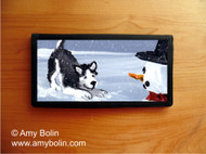 CHECKBOOK COVER · MY SNOWY FRIEND (BLACK) · HUSKIES & MALAMUTES (AVAILABLE IN BLUE OR BROWN EYES) · AMY BOLIN