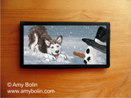 CHECKBOOK COVER · MY SNOWY FRIEND (RED) · HUSKIES & MALAMUTES (AVAILABLE IN BLUE OR BROWN EYES) · AMY BOLIN