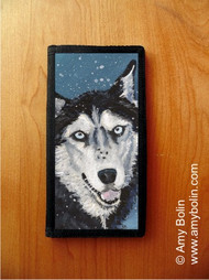 CHECKBOOK COVER · RIVA'S SNOW DAY · SIBERIAN HUSKY (BLUE EYES ONLY) · AMY BOLIN