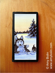 CHECKBOOK COVER · WINTER MORNING · HUSKIES & MALAMUTES (AVAILABLE IN BLUE OR BROWN EYES) · AMY BOLIN