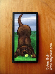 CHECKBOOK COVER · HAPPY LAB · CHOCOLATE LABRADOR RETRIEVER · AMY BOLIN