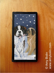 CHECKBOOK COVER · LITTLE KISS · MASTIFF, SAINT BERNARD · AMY BOLIN
