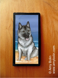 CHECKBOOK COVER · BEACH BUM · NORWEGIAN ELKHOUND · AMY BOLIN