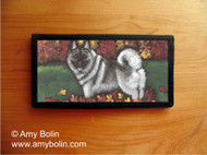 CHECKBOOK COVER · CHASING LEAVES · NORWEGIAN ELKHOUND · AMY BOLIN