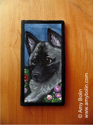 CHECKBOOK COVER · MOM'S FAVORITE DAISY · NORWEGIAN ELKHOUND · AMY BOLIN