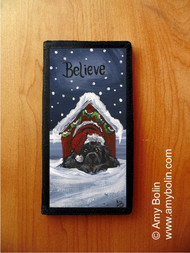 CHECKBOOK COVER · BELIEVE · BLACK NEWFOUNDLAND · AMY BOLIN