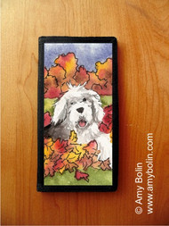CHECKBOOK COVER · LEAF ROMP · OLD ENGLISH SHEEPDOG · AMY BOLIN