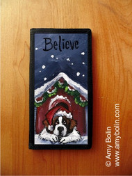 CHECKBOOK COVER · BELIEVE · SAINT BERNARD · AMY BOLIN