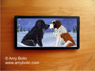 CHECKBOOK COVER · A COLD, WET HELLO · BLACK NEWFOUNDLAND, SAINT BERNARD · AMY BOLIN