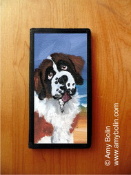 CHECKBOOK COVER · A DAY AT THE BEACH · SAINT BERNARD · AMY BOLIN