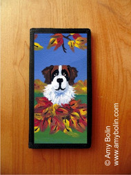 CHECKBOOK COVER · AUTUMN'S SIMPLE PLEASURES 3 · SAINT BERNARD · AMY BOLIN
