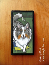 CHECKBOOK COVER · AGILITY KING · BLUE MERLE SHELTIE · AMY BOLIN