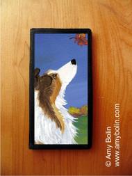 CHECKBOOK COVER · AUTUMN'S SIMPLE PLEASURES 2 · SABLE  SHELTIE · AMY BOLIN