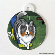 DOUBLE SIDED PET ID TAG · AGILITY KING · BLUE MERLE SHELTIE · AMY BOLIN