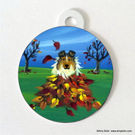 DOUBLE SIDED PET ID TAG · AUTUMN'S SIMPLE PLEASURES · SABLE SHELTIE · AMY BOLIN