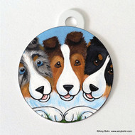DOUBLE SIDED PET ID TAG · BFF'S · BLUE MERLE, SABLE, TRI COLOR · AMY BOLIN