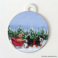DOUBLE SIDED PET ID TAG · A WINTRY RIDE · BERNESE MOUNTAIN DOG, GOLDEN RETRIEVER · AMY BOLIN