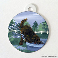 DOUBLE SIDED PET ID TAG · DIGGIN' IT · BROWN  NEWFOUNDLAND · AMY BOLIN