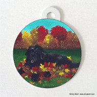 DOUBLE SIDED PET ID TAG · HAPPINESS IS A PILE OF LEAVES · BLACK  NEWFOUNDLAND · AMY BOLIN