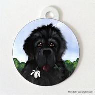 DOUBLE SIDED PET ID TAG · I SAW THIS FLOWER & THOUGHT OF YOU · BLACK NEWFOUNDLAND · AMY BOLIN