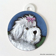 DOUBLE SIDED PET ID TAG · ALL GUSSIED UP · OLD ENGLISH SHEEPDOG · AMY BOLIN