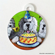 DOUBLE SIDED PET ID TAG · HAPPY BIRTHDAY TO YOU  · OLD ENGLISH SHEEPDOG · AMY BOLIN