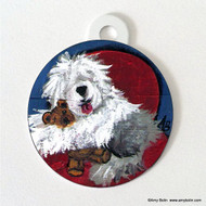 DOUBLE SIDED PET ID TAG · JUST ME AND TED  · OLD ENGLISH SHEEPDOG · AMY BOLIN
