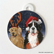 DOUBLE SIDED PET ID TAG · CHRISTMAS BUDDIES · BERNESE MOUNTAIN DOG, GOLDEN RETRIEVER · AMY BOLIN