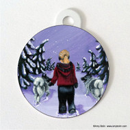 DOUBLE SIDED PET ID TAG · A SNOWY WALK · NORWEGIAN ELKHOUND · AMY BOLIN