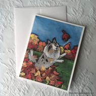 NOTE CARDS · CHASING LEAVES · BLUE MERLE SHELTIE · AMY BOLIN