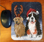 MOUSE PAD · CHRISTMAS BUDDIES · BERNESE MOUNTAIN DOG, GOLDEN RETRIEVER  · AMY BOLIN