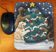 MOUSE PAD · CHRISTMAS TOGETHER · BERNESE MOUNTAIN DOG,GOLDEN RETRIEVER, MASTIFF  · AMY BOLIN