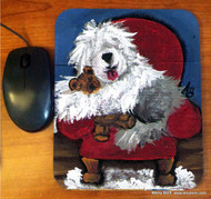 MOUSE PAD · JUST ME AND TED · OLD ENGLISH SHEEPDOG  · AMY BOLIN