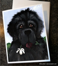 NOTE CARDS · I SAW THIS FLOWER & THOUGHT OF YOU · BLACK NEWFOUNDLAND · AMY BOLIN